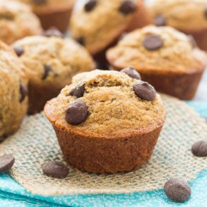 Skinny Banana Almond Butter Muffins - So good, you won't believe they're healthy too!