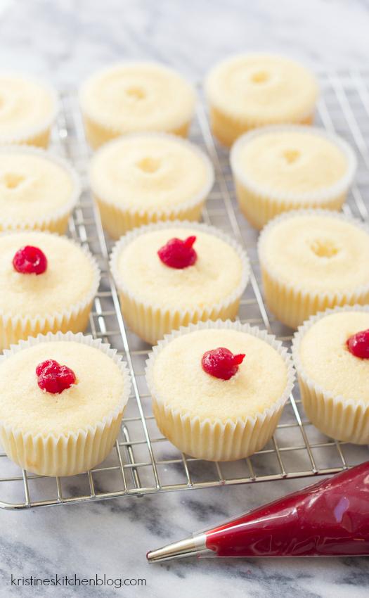 Raspberry-Filled Chocolate Lemon Cupcakes! With fudgy Greek yogurt frosting!