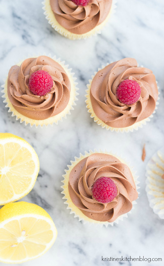 Raspberry-Filled Chocolate Lemon Cupcakes! With fudgy Greek yogurt frosting!