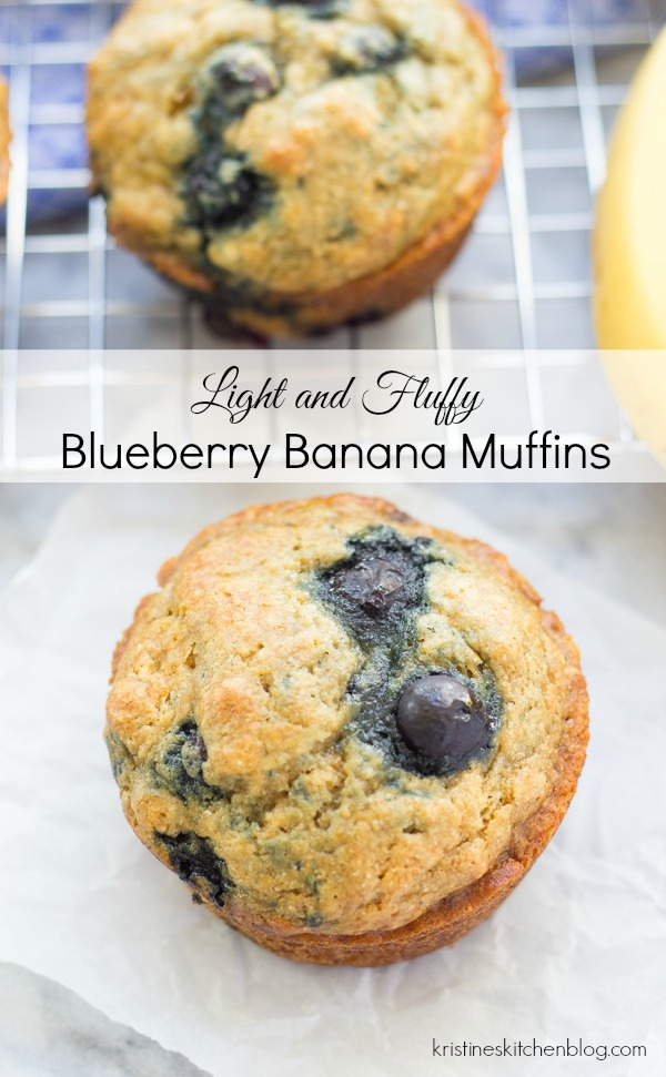 Light and Fluffy Blueberry Banana Muffins {Whole Wheat, Refined Sugar Free!} | Kristine's Kitchen