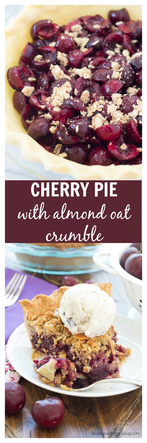Juicy cherry pie with almond oat crumble!  Like a pie and a crisp in one!  The BEST!