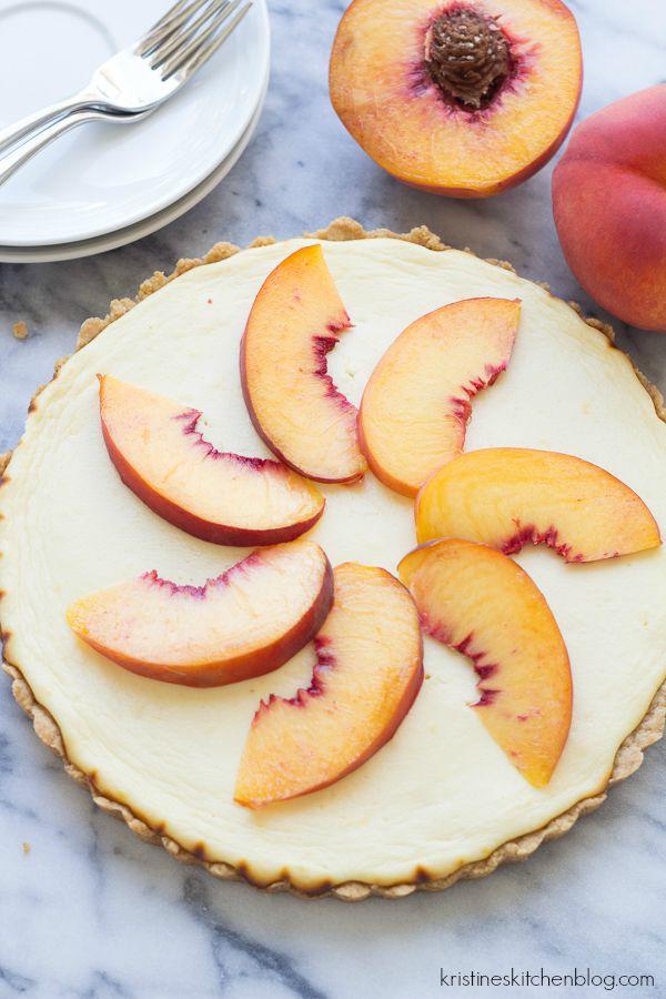 Greek Yogurt Cheesecake Tart with Shortbread Crust and Peaches