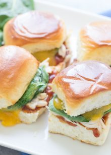 BBQ Chicken Sliders with Cheddar and Spinach. A quick and easy weeknight meal or perfect party food!