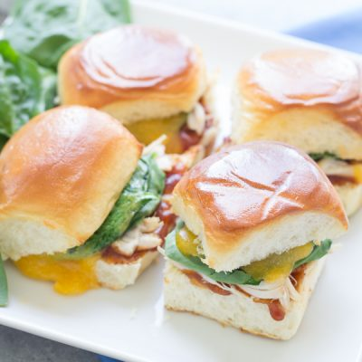 BBQ Chicken Sliders with Cheddar and Spinach