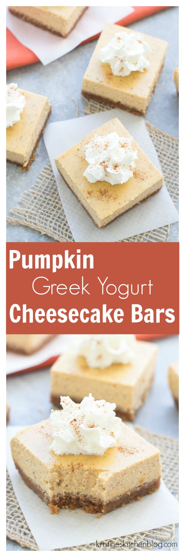 Pumpkin Greek Yogurt Cheesecake Bars - You'll fall for these lighter, pumpkin spiced cheesecake bars!
