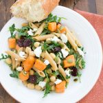 Roasted Sweet Potato and Arugula Pasta with Chickpeas