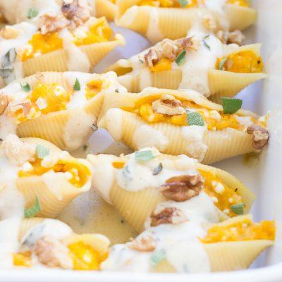 Butternut Squash Stuffed Shells with Brown Butter Alfredo Sauce
