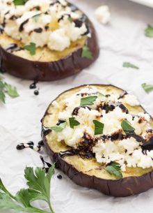 Grilled Eggplant with Ricotta and Balsamic Drizzle - such an easy and delicious side dish!