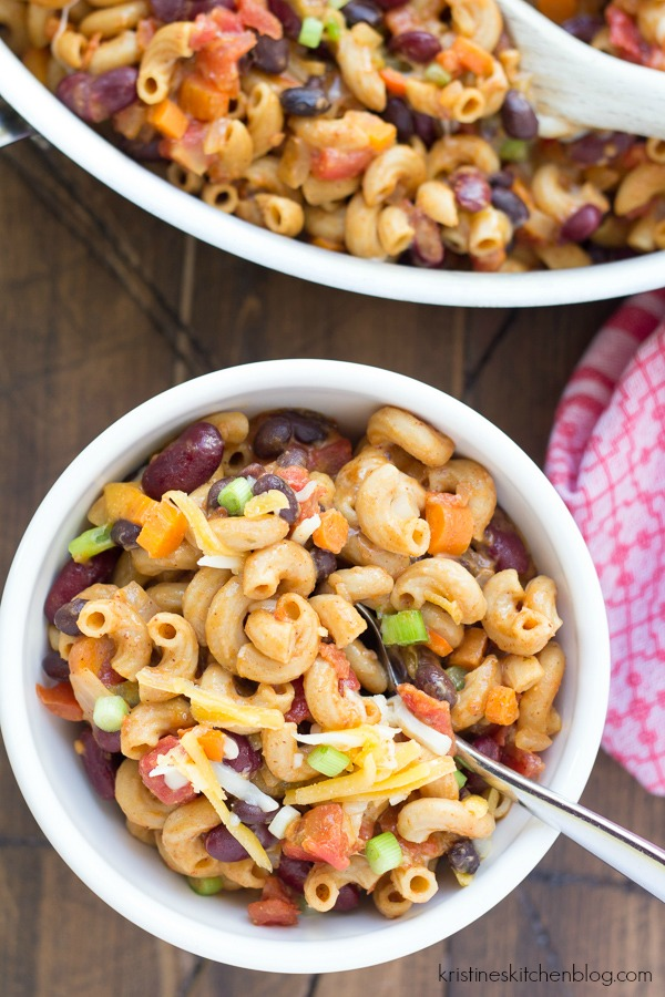 One Pot Vegetarian Chili Mac - One of THE easiest meals for busy nights! Everything cooks in one skillet, and the pasta absorbs SO much flavor!