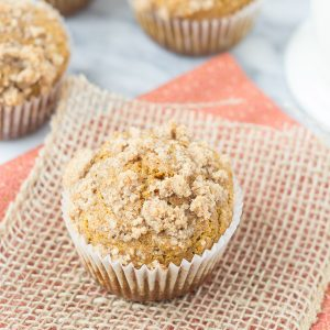 Pumpkin Coffee Cake Muffins - so light, tender, and moist, and perfect for fall!