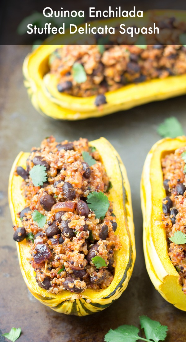 Quinoa Enchilada Stuffed Delicata Squash with Black Beans- a healthy vegetarian meal that's full of Mexican flavors!