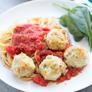 Chicken Parmesan Meatballs with Easy Tomato Sauce - Ready in 30 minutes! A healthy dinner the whole family will love!