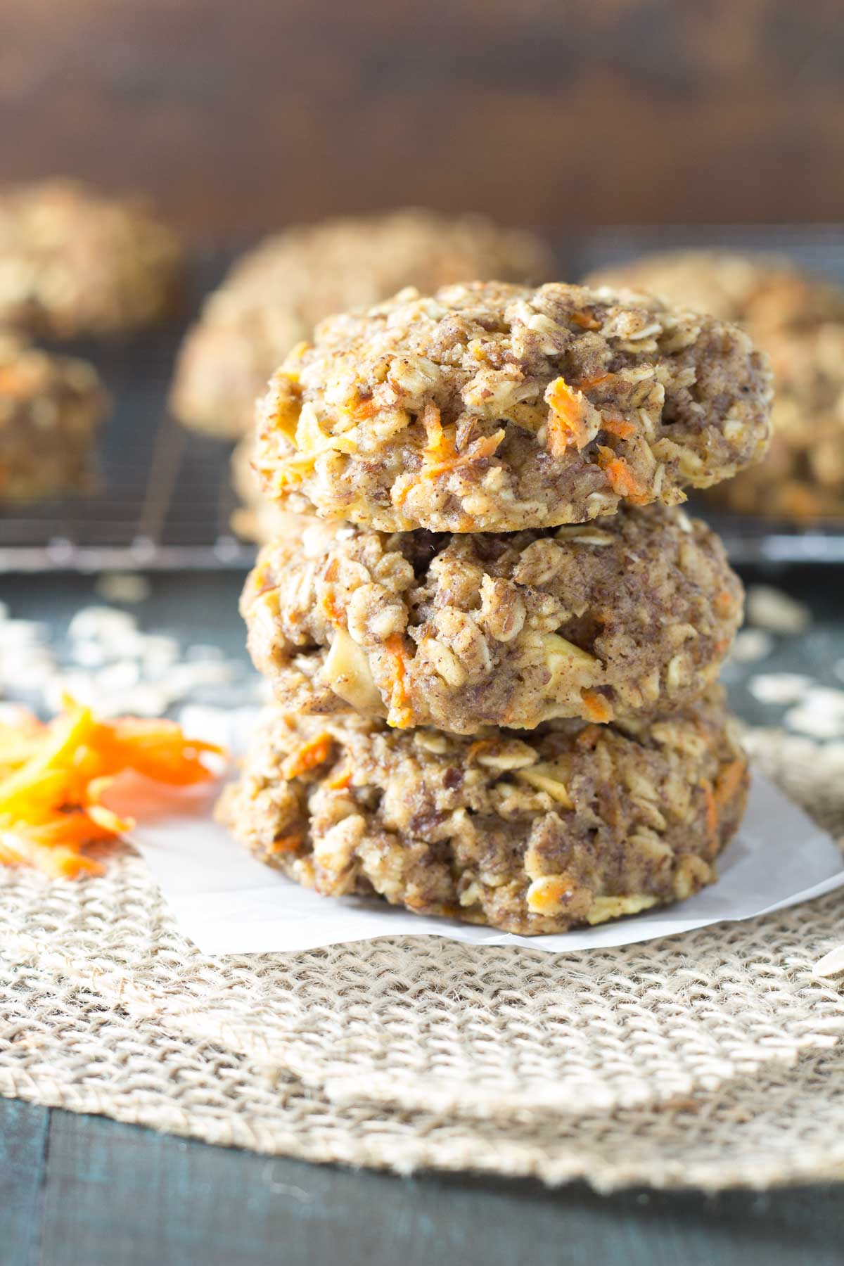 Thick, chewy, and full of fresh carrot and apple, these Carrot Cake Breakfast Cookies are a healthy make ahead breakfast. Whole grain and refined sugar free. Gluten free option.