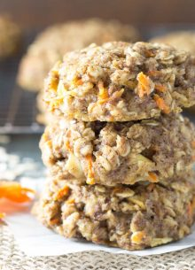 Thick, soft, and full of fresh carrot and apple, these Carrot Cake Breakfast Cookies are a healthy make ahead breakfast. Whole grain and refined sugar free. Gluten free option.