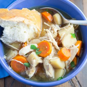 This Slow Cooker Maple Chicken Stew is full of healthy root vegetables and flavor! It cooks all day in your crock pot, so it's perfect for busy workdays.