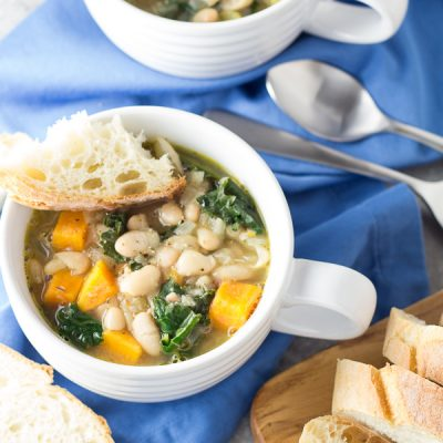 30 Minute Tuscan White Bean and Kale Soup