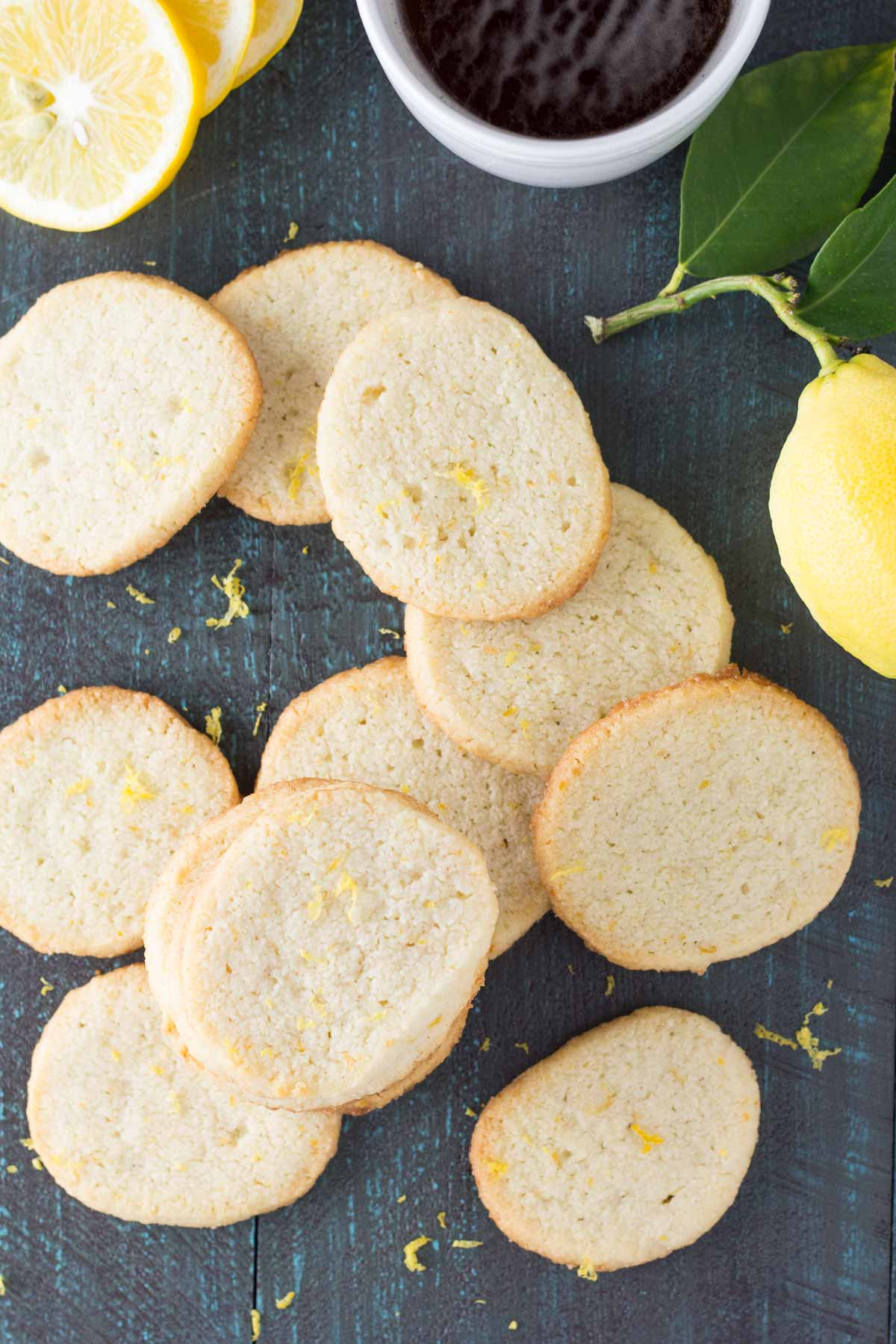 These easy Lemon Almond Shortbread Cookies are slice and bake and a perfect Spring dessert! They are gluten free and low carb with only 3 grams of carbohydrates per serving!