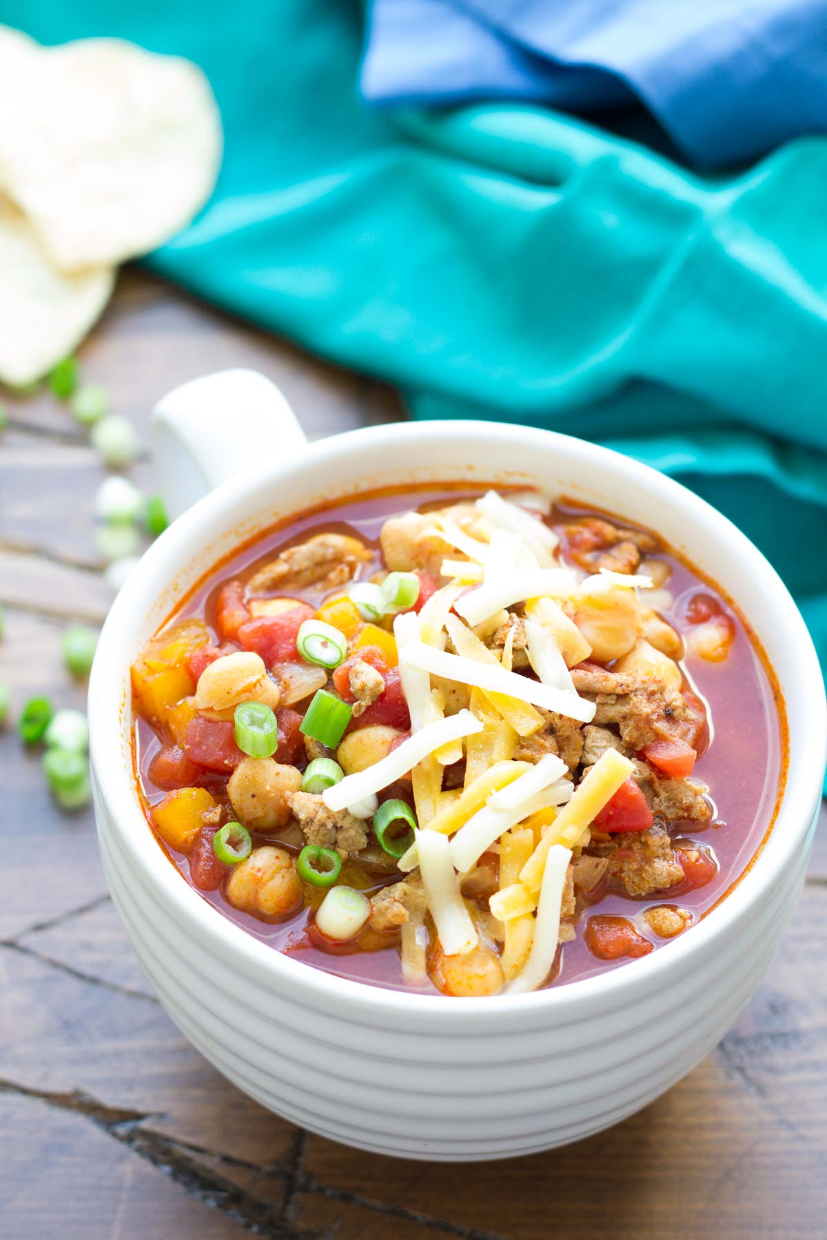 Slow Cooker Turkey Chickpea Chili - our favorite healthy chili recipe is packed with protein and so easy to make in your crock pot!