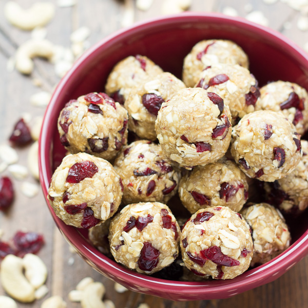 Salted Cashew Energy Bites with Cranberries