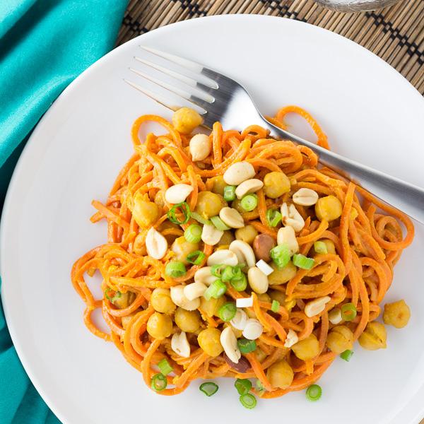 Sweet Potato Noodles with Peanut Sauce {Vegan, Gluten Free}