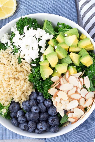 Kale Superfood Salad with Quinoa and Blueberries