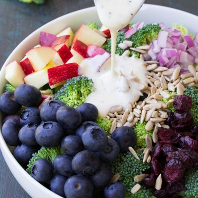 No Mayo Broccoli Salad with Blueberries and Apple