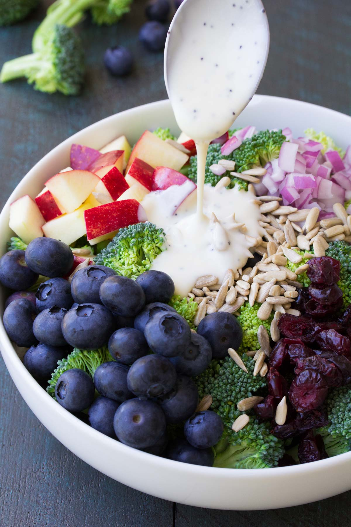 No mayo broccoli salad with blueberries and apple recipe video best ever no mayo broccoli salad with blueberries and apple this healthy and easy side forumfinder Gallery