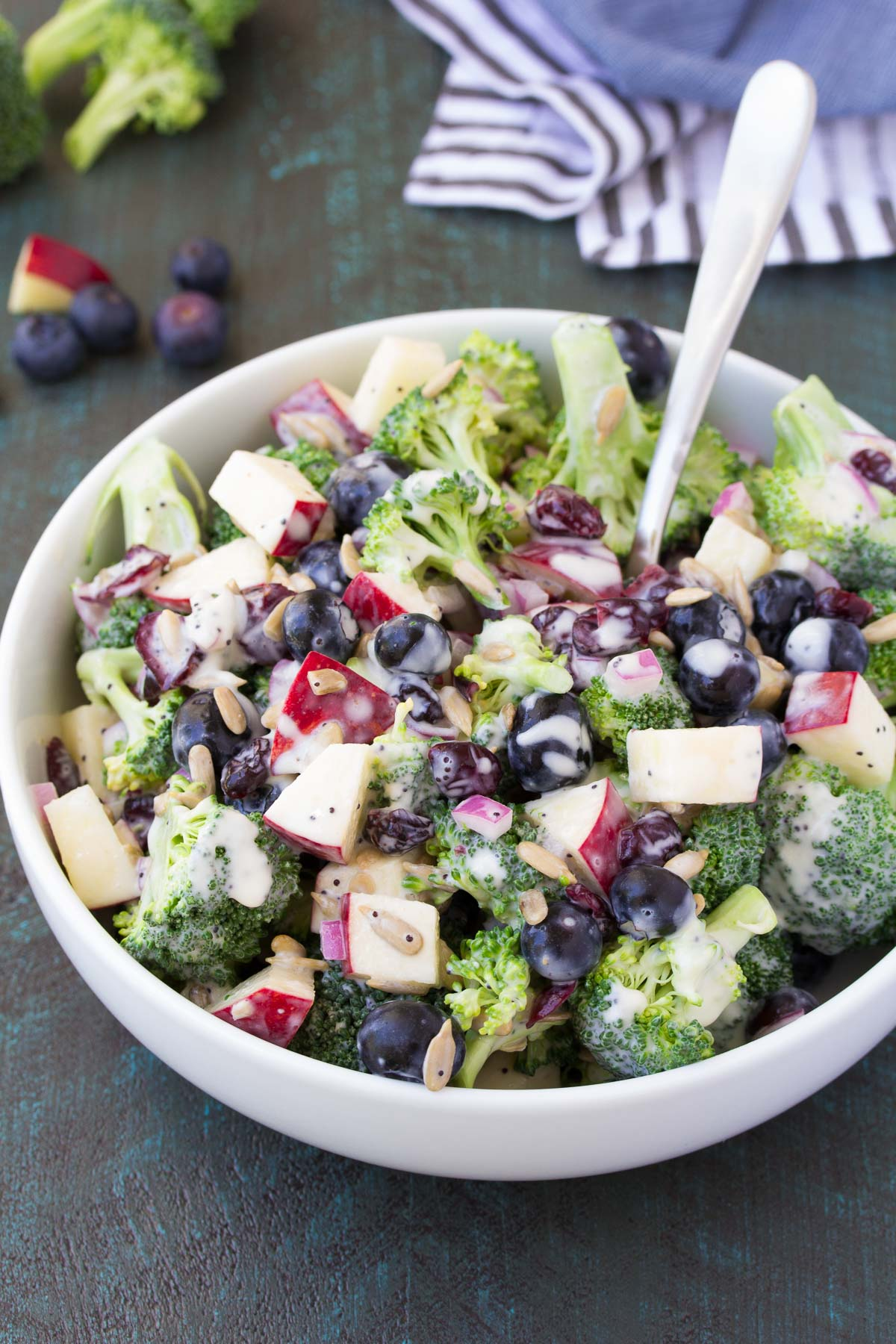 No Mayo Broccoli Salad with Blueberries and Apple ...