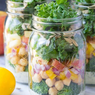Mason Jar Broccoli Salads with Kale and Apple