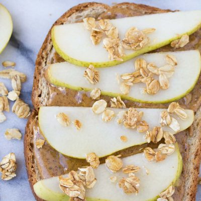Pear and Almond Butter Toast with Granola