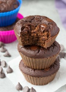 Chocolate Black Bean Blender Muffins - Mix these up in your blender in minutes! High protein with 7 grams of protein per muffin! | www.kristineskitchenblog.com