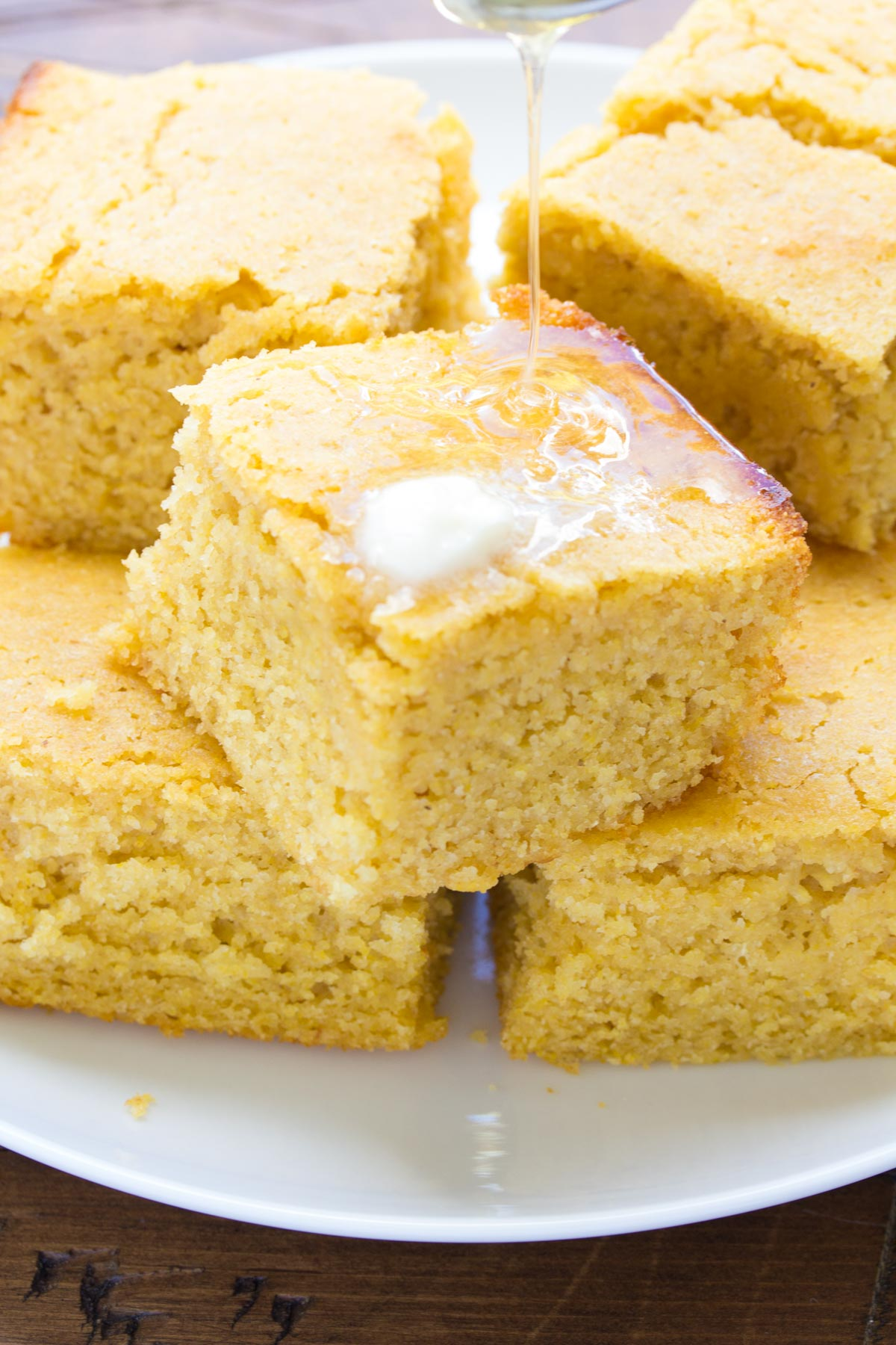 square of this soft, moist Sweet Honey Cornbread in front of you
