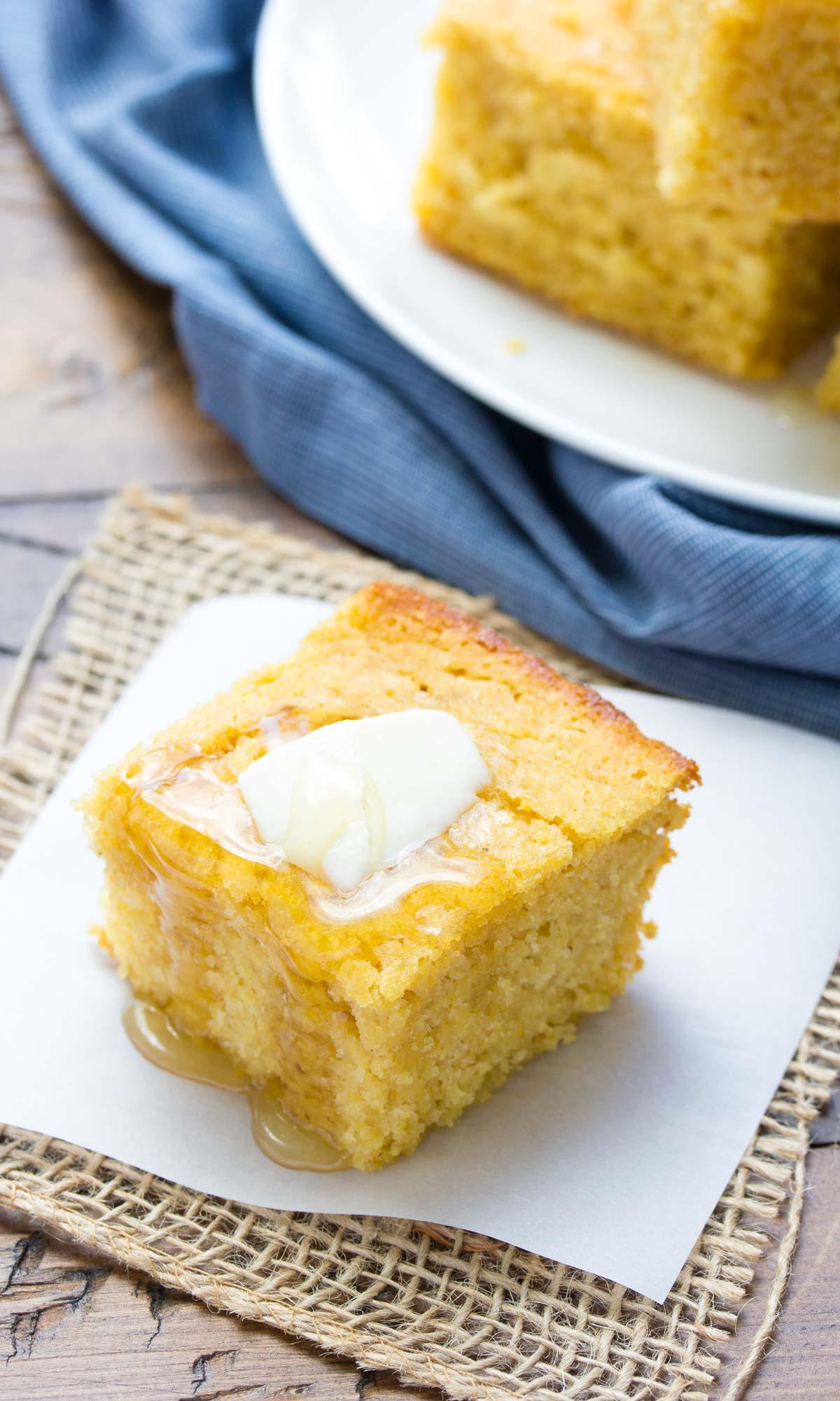 Sweet Honey Cornbread! Whole grain and SO EASY to make!   www.kristineskitchenblog.com