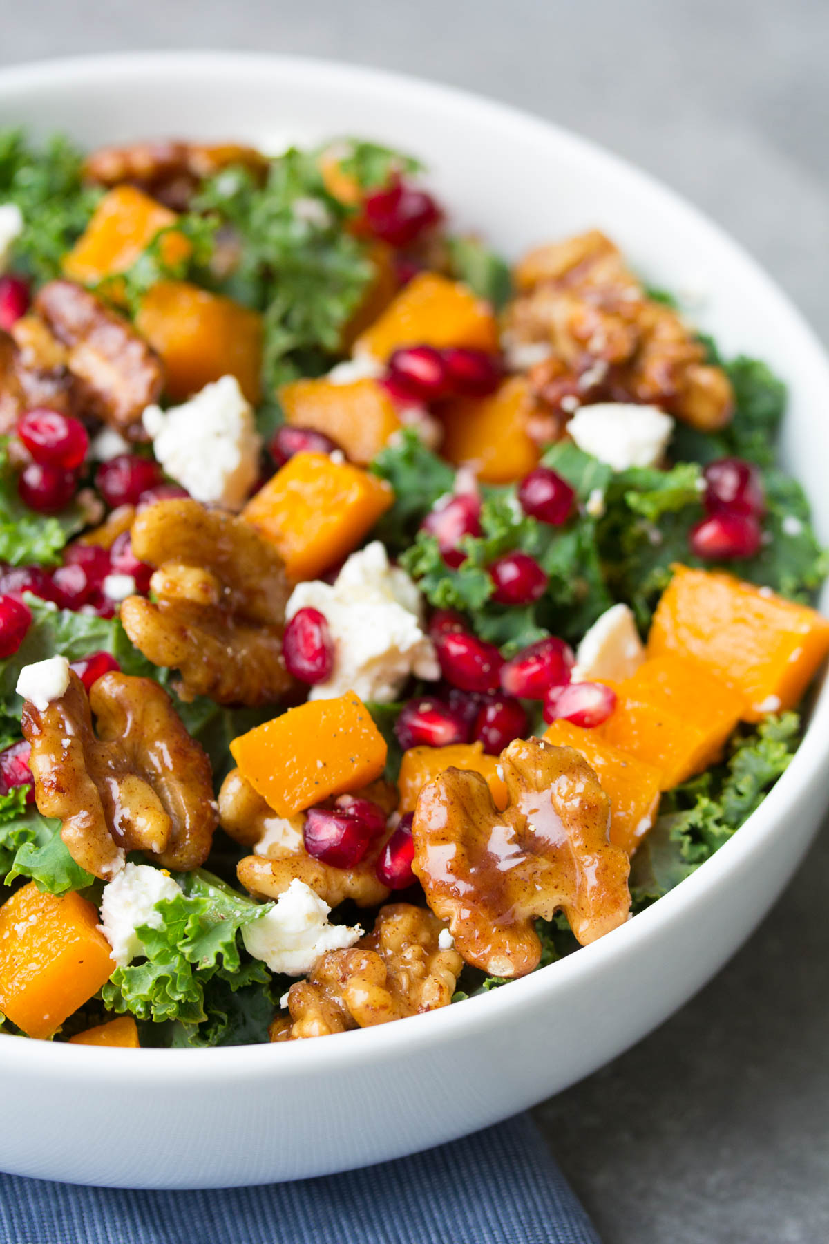 Butternut Squash and Pomegranate Kale Salad with Spiced Honey Walnuts ...