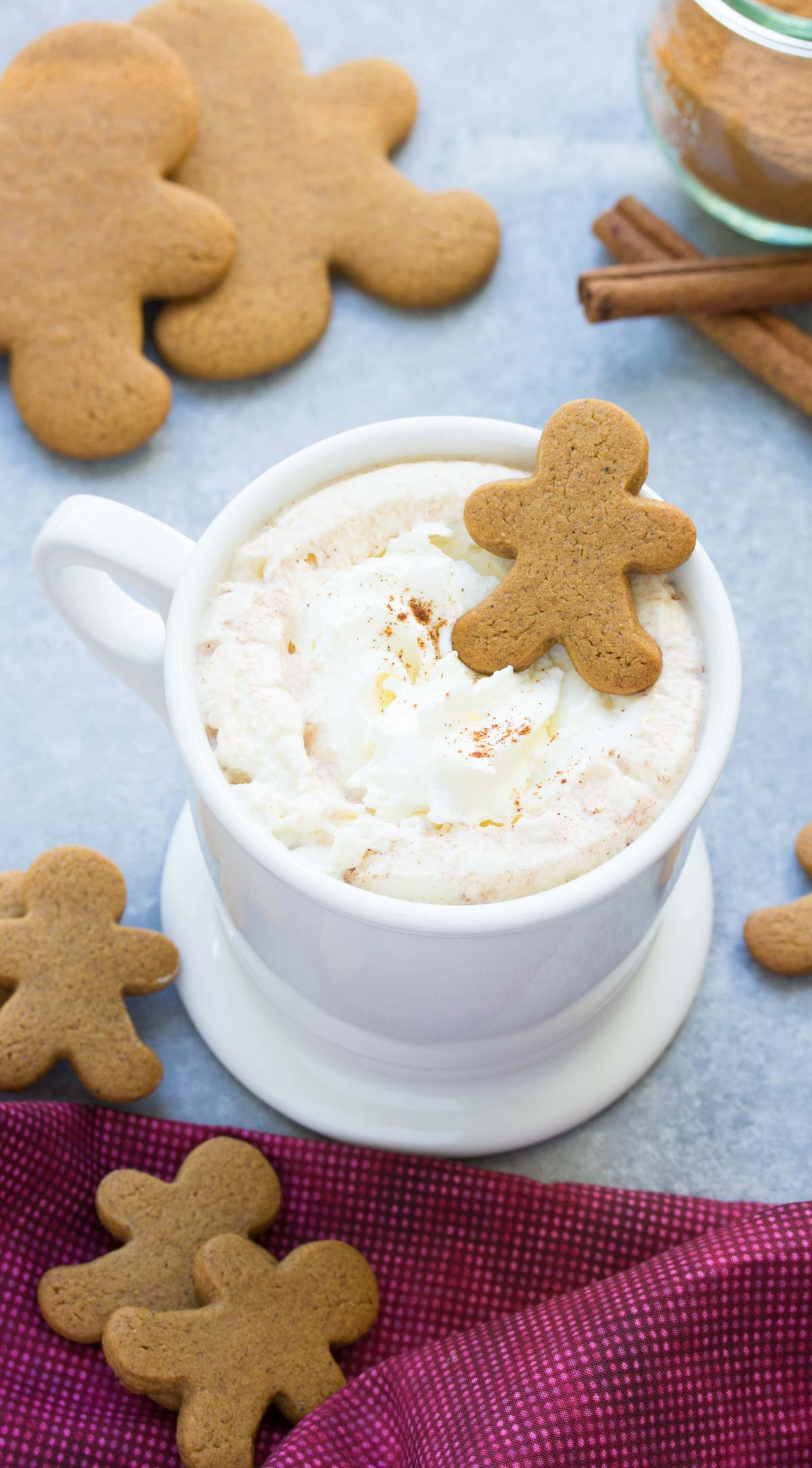This easy microwave gingerbread hot cocoa is one of our favorite holiday treats! With just a few ingredients, it's quick to make and fun to drink! | www.kristineskitchenblog.com