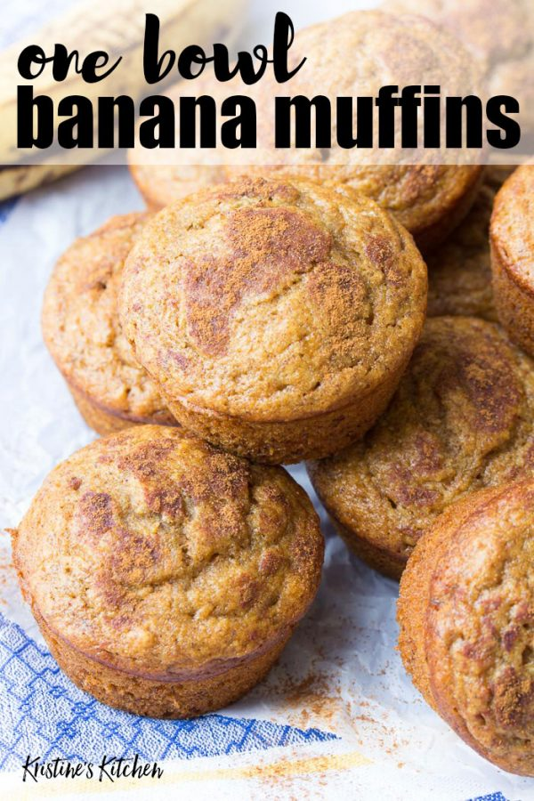 Easy Cinnamon Banana Muffins Recipe | These healthy banana muffins are quick to make in one bowl! Make them for breakfast, snack, or kids lunch boxes!
