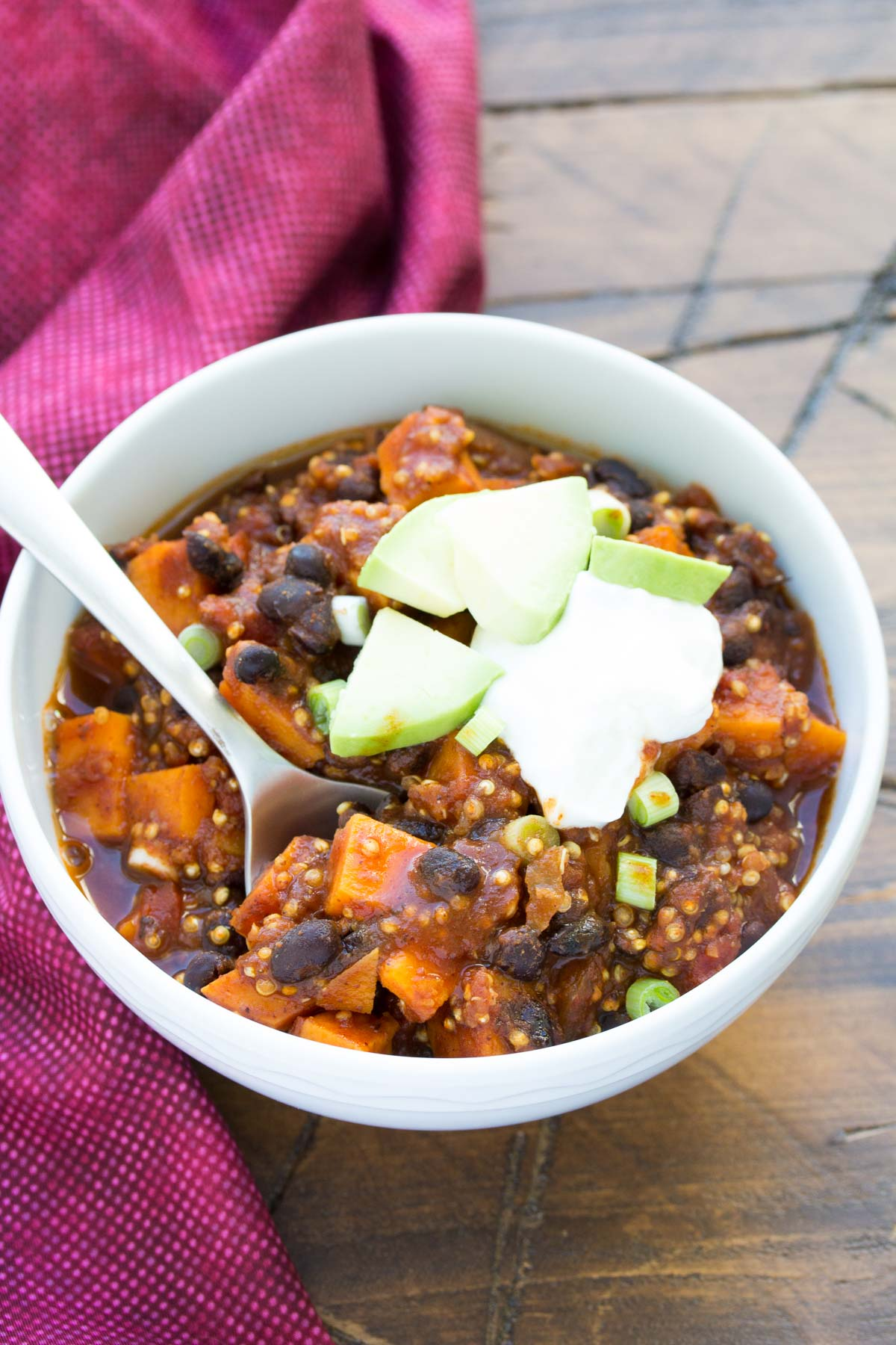 Sweet Potato and Black Bean Chili with Quinoa. Vegetarian, vegan option, fast and easy to make! | www.kristineskitchenblog.com