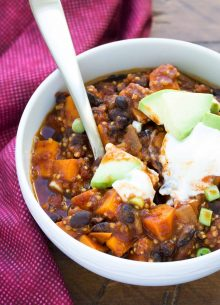 Sweet Potato and Black Bean Chili with Quinoa. Vegetarian, vegan option, fast and easy to make! | www.kristineskitchenblog.com