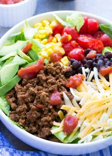 Wondering what to make for dinner? This 20 Minute Healthy Taco Salad recipe will make the whole family happy! It has taco beef, cheese, avocado and salsa dressing! | www.kristineskitchenblog.com