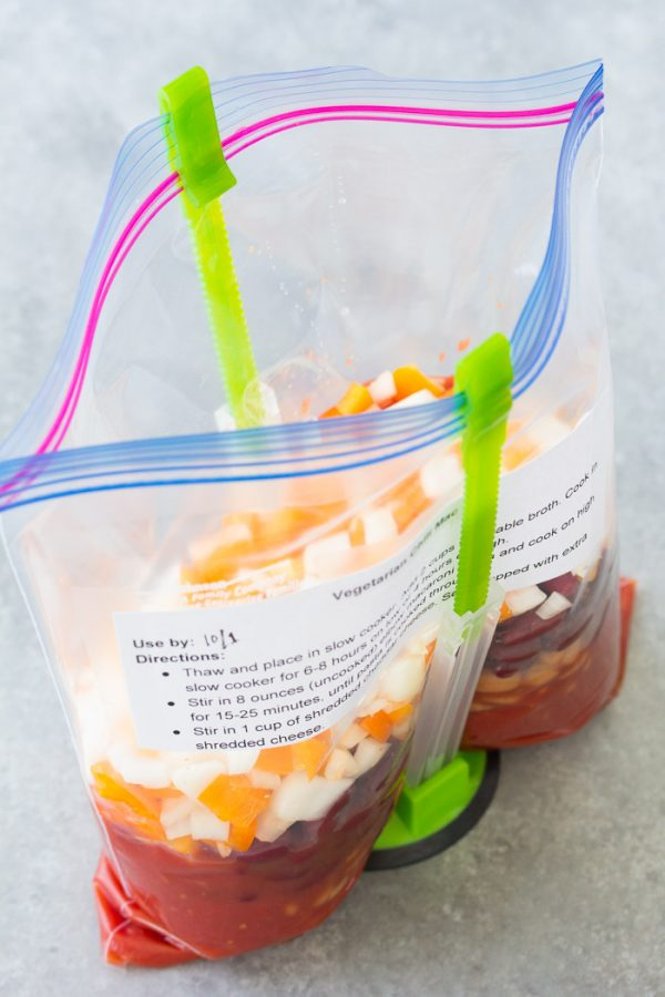 Slow Cooker Vegetarian Chili Mac with make ahead freezer to crock pot option!