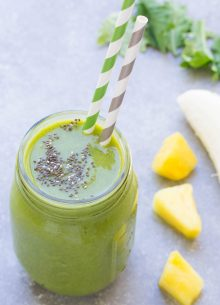This dairy free Tropical Green Chia Seed Smoothie is quick to make for breakfast or a snack! With mango, pineapple, almond milk and orange.