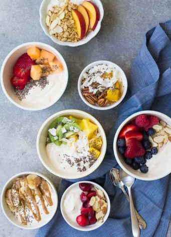 Dairy Free Yogurt Breakfast Bowls, 7 Ways. A quick & easy breakfast with fruit, nuts and chia seeds!