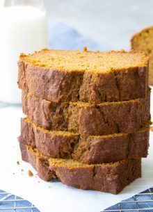 This Healthy One Bowl Pumpkin Bread has all of the pumpkin spice flavors that you love! It has a soft and tender crumb and is so easy to make in one bowl!