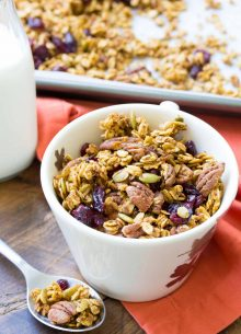 An easy recipe for Pumpkin Spice Granola, made in one bowl! This healthy make ahead breakfast is gluten free, refined sugar free and freezer-friendly!