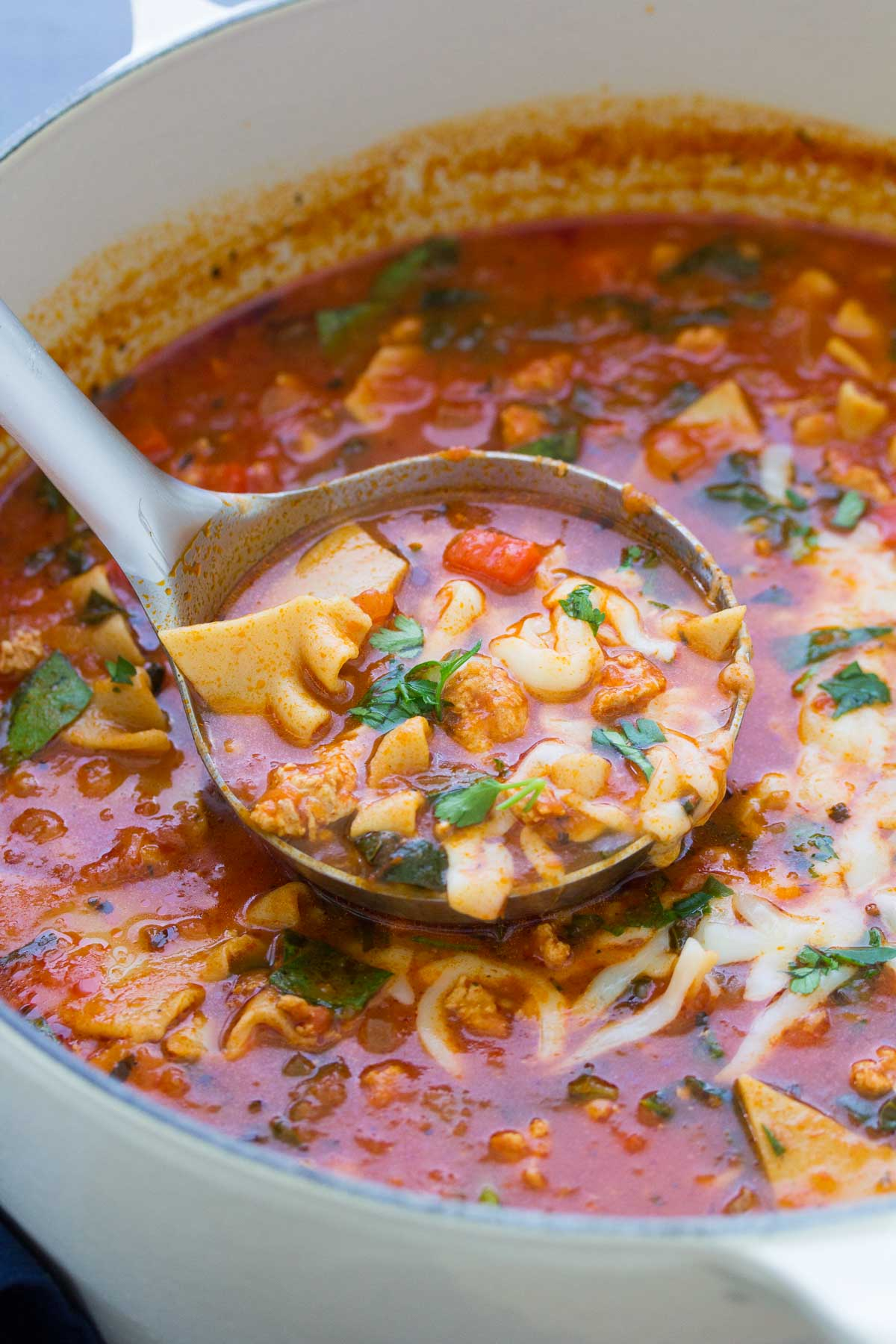 This healthier one pot lasagna soup is made with ground turkey and whole wheat pasta noodles. This soup is full of healthy vegetables. It's a quick and easy family friendly dinner recipe!