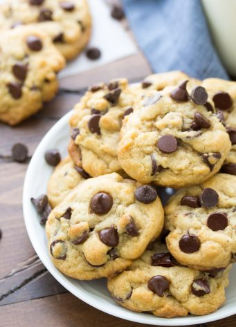 This is our best soft and chewy chocolate chip cookies recipe! You can make these easy chocolate chip cookies with no dough chilling, or chill the dough if you have time. Plus, tips for what makes cookies soft and chewy, and how to keep cookies soft after baking them.