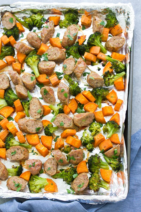 Sheet Pan Sausage and Roasted Veggies, plus a meal prep option. A quick dinner recipe that's made on one pan! Use broccoli and sweet potatoes or any favorite vegetables. Only 6 ingredients!