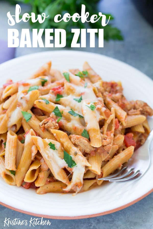 Slow cooker baked ziti recipe, made healthier with ground turkey and whole wheat pasta! Your family will love this easy dinner idea!