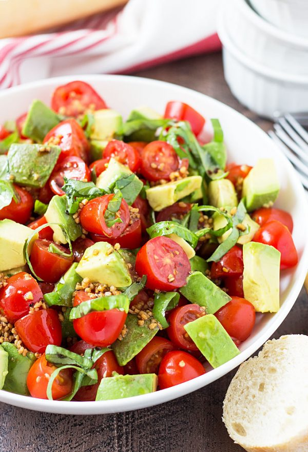 Tomato, Avocado and Basil Salad