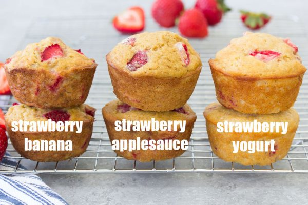Make these healthy strawberry muffins to stock your freezer for quick breakfasts and snacks! This easy recipe can make strawberry banana muffins, strawberry applesauce muffins or strawberry yogurt muffins. Dairy-free and vegan options.